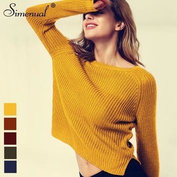 Simenual Fashion yellow sweaters for women winter knitted jumper sueter mujer side slit lady's sweater pull clothes