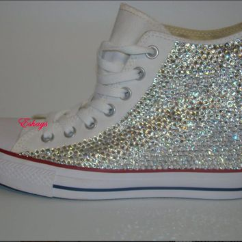 Wedge Converse Clear Sparkled Rhinestones Chucks