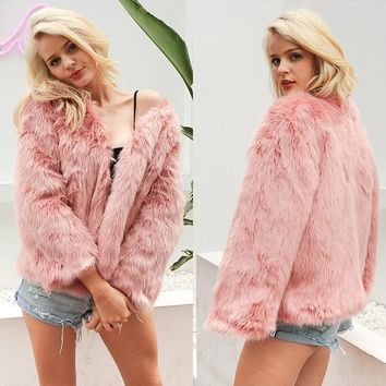 Faux Fur Coat Women Long Sleeve Solid Warm Fuzzy Jacket Outerwear