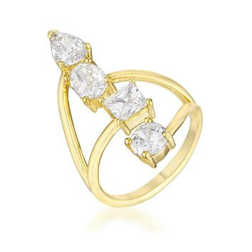 Bria Stunning CZ Goldtone Cocktail Ring | 3ct | Cubic Zirconia | 18k Gold
