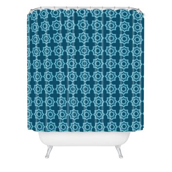 Khristian A Howell Moroccan Mirage Blue Shower Curtain