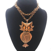 ON SALE Alan Signed Large Owl Pendant 1970's Collectible Figural Statement Necklace