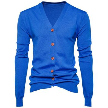 Mens Autumn Winter Knitted Cardigan V Neck