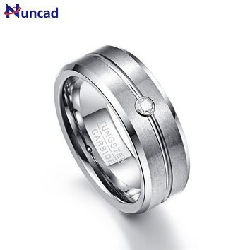 ac spbest 8mm Zircon Men Ring 100% Tungsten Carbide Faceted Wedding Bands Men's Jewelry Promise Band Anillos para hombres Pierscienie