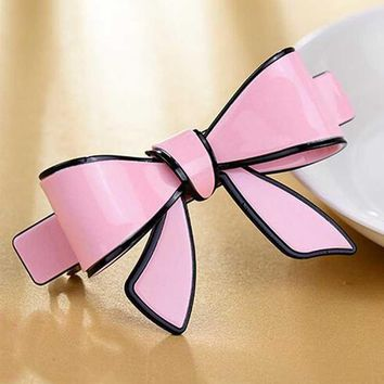 Cheap French Hair Barrettes Hair Crab Acrylic Hair Spring Clip Bow For Women Hairpins Acetate Butterfly Clamp clips for Girls
