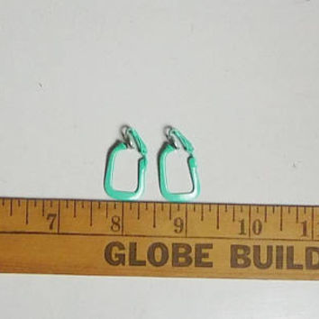 Green Clip On Earrings, Thin, Small, Vintage