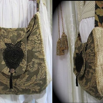 Chenille Tapestry Carpetbag, Thick Heavy Sturdy, crossbody bohemian gypsy bag, handmade LARGE