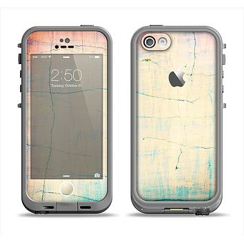 The Vintage Faded Colors with Cracks Apple iPhone 5c LifeProof Fre Case Skin Set