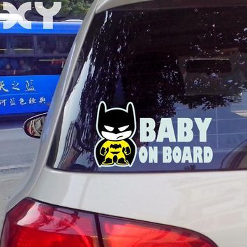 "Batman Dark Knight gift Christmas Baby Batman ""BABY ON BOARD"" Vinyl Car Decal Sticker / Reflective Tape Stickers Drop Shipping AT_71_6"