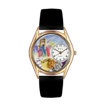 Whimsical Watches Healthcare Nurse Gift Accessories Drama Theater Royal Blue Leather And Goldtone Watch