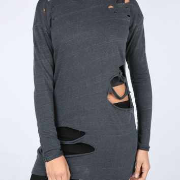 The Mckenzie Destroyed Sweater Dress in Black