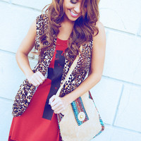 She's A Wild Thing Vest: Leopard/Lace | Hope's
