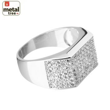 Jewelry Kay style Hip Hop Iced Out Silver Plated Brass Hand Setting CZ Band Pinky Ring SJ12348 S