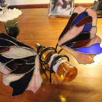 Stained glass butterfly wine bottle holder