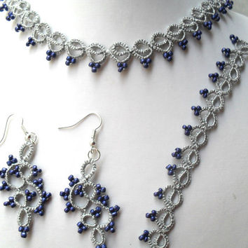 Silver jewelry set, Bridal Set Crochet Tatting/ necklace, bracelet and earrings, lace jewelry