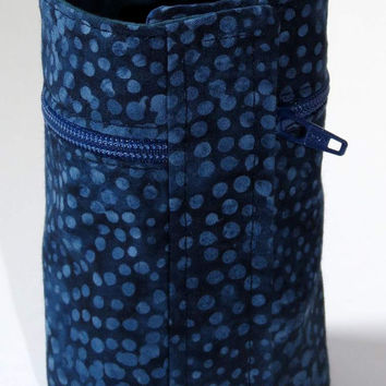 Wrist Wallet, Zippered Wrap Cuff, Hands-free, Secure, Navy Batik