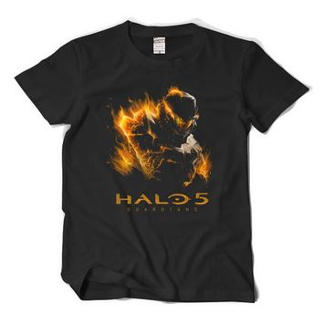 Master Chief Halo 5 GUARDIANS T-Shirt Cosplay Costume Men Summer Style Short Sleeve T Shirt Cotton Plus Size