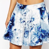 WYLDR Holly Skater Skirt In Blurred Floral