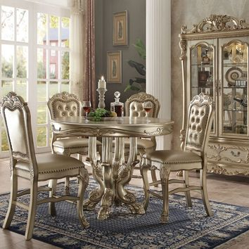Acme 63160-62 5 pc dresden collection gold patina and bone white wash finish wood round counter height dining table set