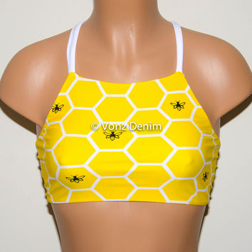 Yellow Bee Hive High Neck Halter Bikini Top, Criss Cross Adjustable Swimwear Bikini Top, 4Th Of July Bathing Suit, Festival Spandex Top