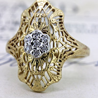 Vintage Filigree Shield Ring | 10k Yellow Gold Promise Ring | Art Deco Inspired Ring | 1960s Diamond Cluster Ring | Cocktail Ring |Size 4.25