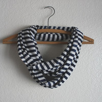 Sailor scarf - Nautical Scarf - Blue and White - Striped infinity scarf Blue Striped scarf