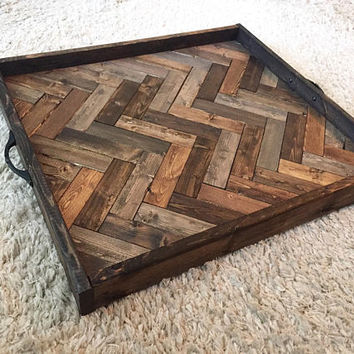 Oversized ottoman tray, herringbone tray, wooden serving tray, coffee table tray, farmhouse decor
