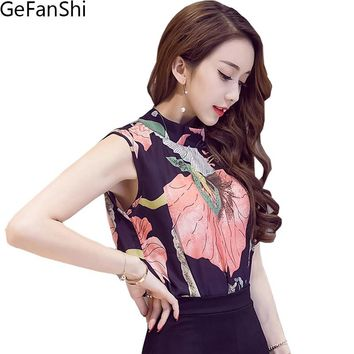 2017  New Women's Summer Fashion Blouse Print Sexy Chiffon Shirt  Sleeveless Casual Loose Top Office Feminina Blusas Plus Size