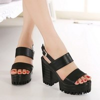 Womens Chunky High Heels Pumps Platform Bucklel Sandals Sexy Summer Party Shoes Black US6.5
