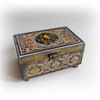 Vintage Jewelry Box Small Ring Earing Box Retro Trinket Box Mother's Day Gift Maid of Honor Gift Bridesmaid Wood Decoupage Box Antique Box