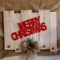 Merry Christmas Stocking Holder Made from Whitewashed Refurnished Pallet Wood