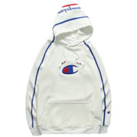 Champion New fashion bust embroidery logo and hat letter print thick keep warm women hooded long sleeve sweater White