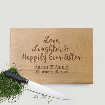 Custom Cutting Board Wedding Gift for Bride & Groom - Happily Ever After