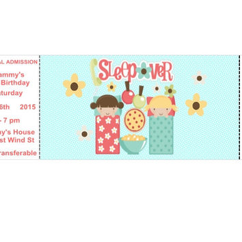 Sleepover Ticket Birthday Party Invitations