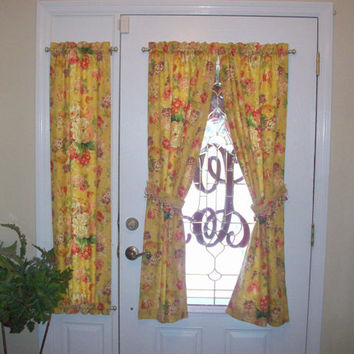 Sample Custom Foyer Rod Pocket Front/ Entry Door Panel & side light/ Sidelight Panels - Door Curtains