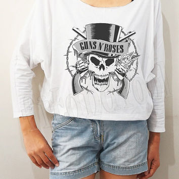 Guns N' Roses Shirt Slash Heavy Hard Rock Shirt Bat Sleeve Shirts Crop Shirts Long Sleeve Tee Oversized Sweatshirt Women Shirts - FREE SIZE