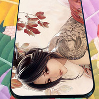 Japanese Animation women Tattoo for iPhone 4/4s/5/5S/5C/6, Samsung S3/S4/S5 Unique Case *95*
