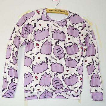 Fat Stacks Cats Crew Neck Sweatshirt Men & Women Harajuku Style All Over Print Purple Sweater