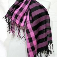 Pink and Black Men's and Women's Scarf - Pink and Black Scarf - Pink and Black Soft Cotton Scarf - KR1411055