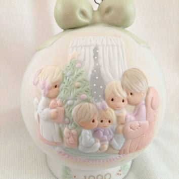 Precious Moments porcelain Christmas ornament ball, May Your Christmas Be A Happy Home 523704