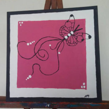 Acrylic canvas painting, 12 x 12, Butterfly swirls