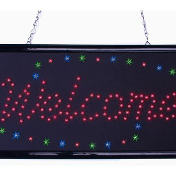 """Welcome"" Animated LED Sign with Hanging Chain, Rectangular - Red 19536"
