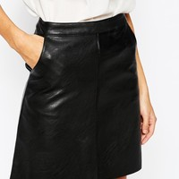 Warehouse Faux Leather A Line Skirt