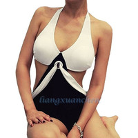 2015  hot sale new fashion   gift Triangle Cup Removable Padding Halter One-piece Monokini Womens Bikini Swimsuit White & Black = 1955887300
