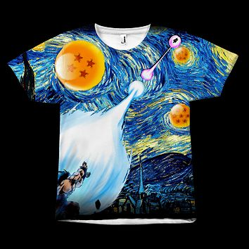 Super Saiyan - Goku Kamehameha vs Vegeta Galick Gun Van Gogh Starry Night -  All Over Print T Shirt - TL00944AO