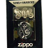 Zippo Custom Lighter - Samcro Sons of Anarchy Reaper Dual Engraving - Regular Black Ice 150-CI018399