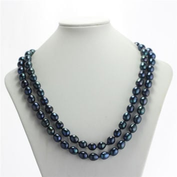 SNH A 11-12mm peacock green natural freshwater long black pearl necklace genuine rice pearl jewelry free shipping