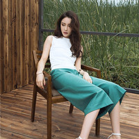 wide leg pants in green,palazzo pants,crop length,high waist,elegant,high fashion,chic,unique,for summer,spring.--E0242