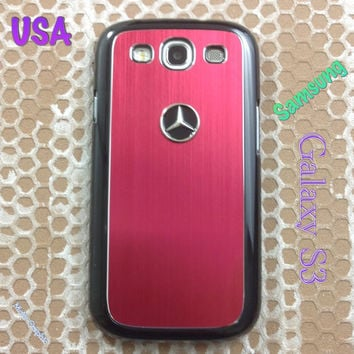 Mercedes Samsung Galaxy S3 Case Mercedes 3D Metal Car Logo with Aluminum Cover for S3 / i9300 -  F1 Red