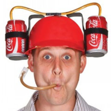 Fashion Drinking beverage cap hard hat cola  lounged soda helmet  Cool Unique Party holiday Game Beer  Dual Can Holder Straw
